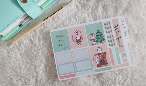 Oh! Good Idea Teedy Christmas, Winter planner kit stickers, hand drawn stickers for planners, Erin Condren Horizontal kit
