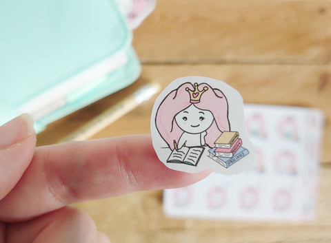 Oh! Good Idea Teedy planner stickers, reading, studying, school, learning stickers, hand drawn stickers for planners