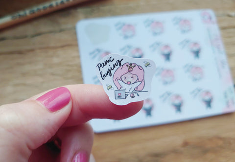 Oh! Good Idea Teedy planner stickers, shopping ninja, panic buying shopping, self care, retail therapy stickers, hand drawn stickers for planners