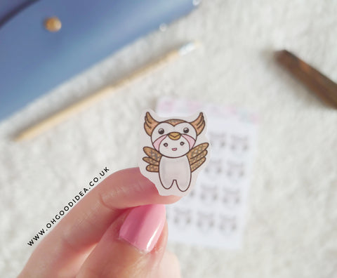 Oh! Good Idea Teedy planner stickers, owl, barn owl, owl outfit, owl lover, spirit animal, totem animal stickers, hand drawn stickers for planners