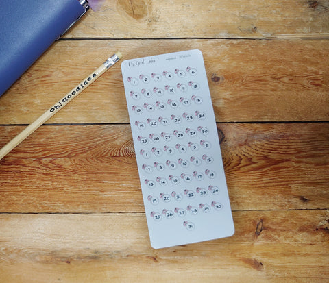 Oh! Good Idea Teedy planner stickers, functional, date dots, tiny stickers, hand drawn stickers for planners