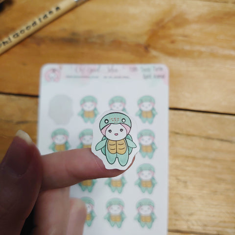 Oh! Good Idea Teedy planner stickers, turtle, turtle outfit, turtle lover, spirit animal, totem animal stickers, hand drawn stickers for planners
