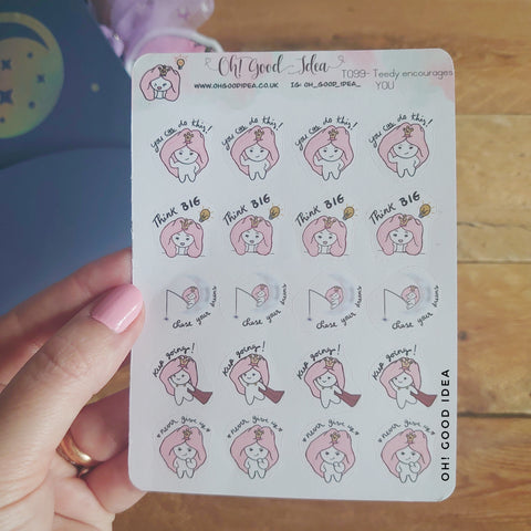Oh! Good Idea Teedy planner stickers, positivity, motivational, encouragement, mental health,, self care stickers, hand drawn stickers for planners