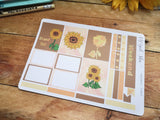 Oh! Good Idea Sunflower Autumn, Fall planner kit stickers, hand drawn stickers for planners, Erin Condren Horizontal kit