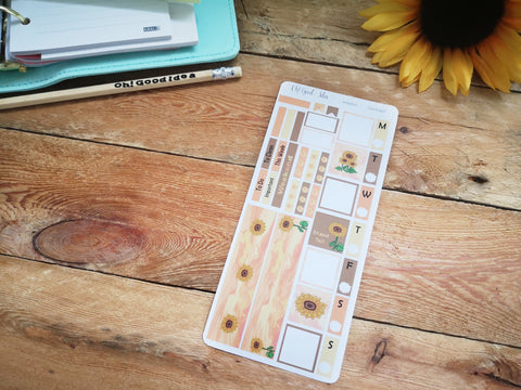 Oh! Good Idea Sunflower Autumn, Fall planner kit stickers, hand drawn stickers for planners, hobonichi weeks kit