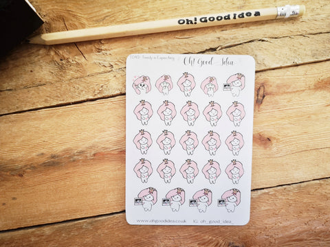 Oh! Good Idea Teedy planner stickers, pregnant, pregnancy scan, expecting planner stickers, hand drawn stickers for planners