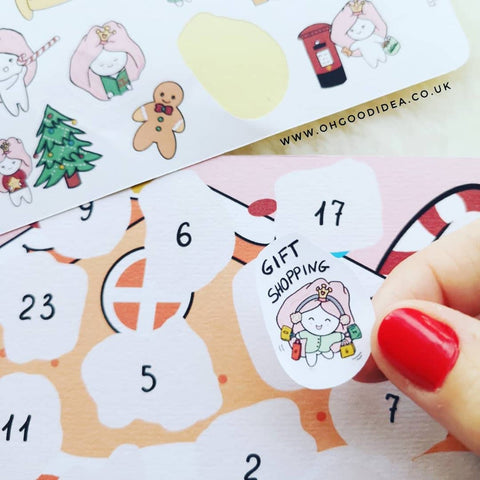 Oh! Good Idea Teedy Christmas Advent Calendar, Countdown, Winter planner stickers, hand drawn stickers for planners
