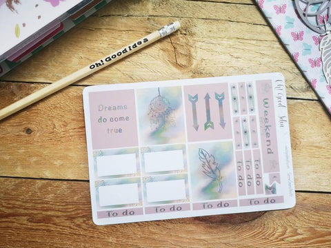 Oh! Good Idea planner stickers, pink dreamcatcher, boho, summer stickers, hand drawn stickers for planners, Erin Condren planner kit