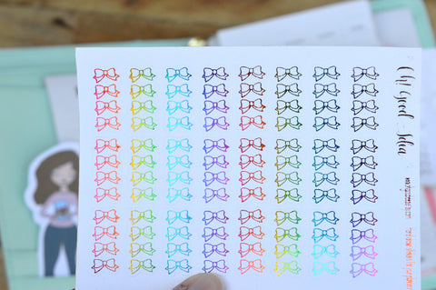 Oh! Good Idea planner stickers, foil to do bow checklist stickers for planners, decorative, functional stickers, rainbow, pink, silver, rose gold foil