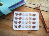 Oh! Good Idea planner stickers, cakes, food, desserts, cheat day stickers, decor hand drawn stickers for planners