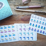 Oh! Good Idea planner stickers, hair appointment, salon, self care, hair dryer stickers, hand drawn stickers for planners