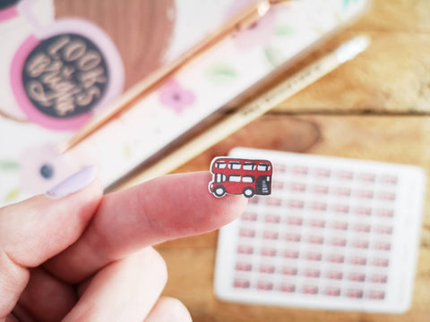 Oh! Good Idea planner stickers, London bus, commute, travelling stickers, hand drawn stickers for planners