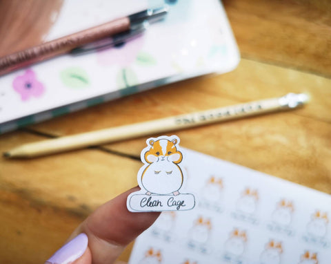Oh! Good Idea planner stickers, hamster, guinea pig, rodent, pet care stickers, hand drawn stickers for planners