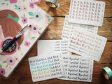 Oh! Good Idea planner stickers, foil to do, cancelled, important, personalised stickers for planners, foiled word script stickers, rainbow, pink, silver, rose gold foil