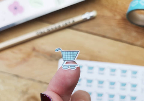 Oh! Good Idea planner stickers, grocery shopping cart, food shopping, groceries, hand drawn stickers for planners