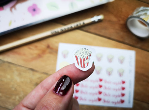 Oh! Good Idea planner stickers,date night, popcorn, movie night, netflix and chill stickers, hand drawn stickers for planners