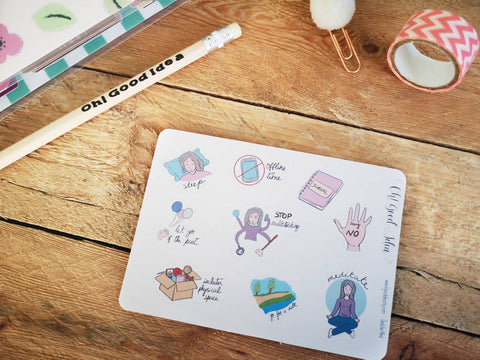 Oh! Good Idea planner stickers, anxiety, self care, mental health stickers,, hand drawn stickers for planners