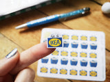 Oh! Good Idea planner stickers, Ikea shopping trip spree bag stickers, retail therapy, hand drawn stickers for planners