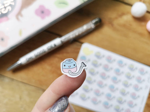 Oh! Good Idea planner stickers, cleaning, kawaii vacuum cleaner, hoover, chores stickers, hand drawn stickers for planners
