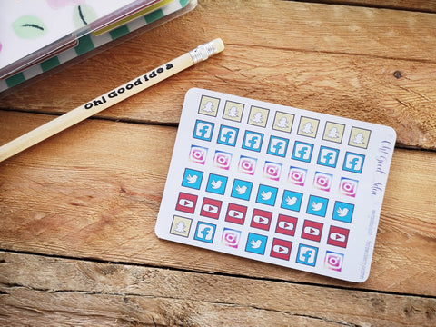 Oh! Good Idea planner stickers, social media icons planning stickers, hand drawn stickers for planners