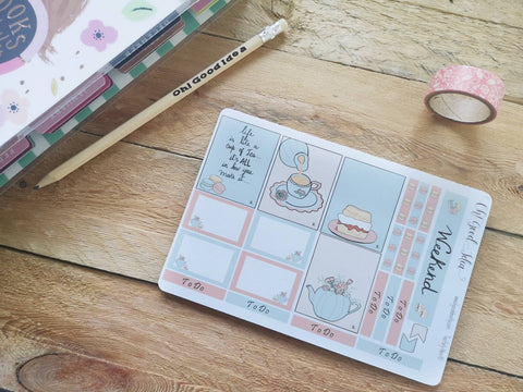 Oh! Good Idea planner stickers, tea party, spring, floral stickers, hand drawn stickers for planners, Erin Condren planner kit