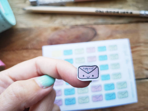 Oh! Good Idea planner stickers, happy mail, pastel envelope, kawaii mail stickers, hand drawn stickers for planners