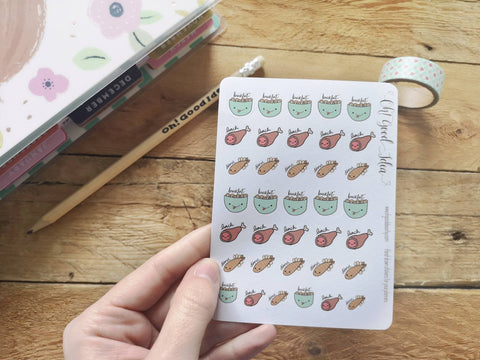 Oh! Good Idea planner stickers, food, meal planning, meal stickers, hand drawn stickers for planners