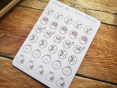 Oh! Good Idea planner stickers, white sheep, lamb stickers, hand drawn stickers for planners