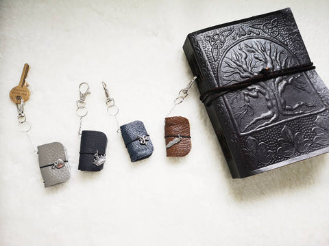 Oh! Good Idea handmade micro mini travellers notebook, leather notebook key chain, TN key ring, mini journal, teachers gift, mini planner