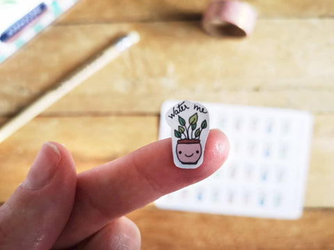 Oh! Good Idea planner stickers, water plants, kawaii water me stickers, hand drawn stickers for planners
