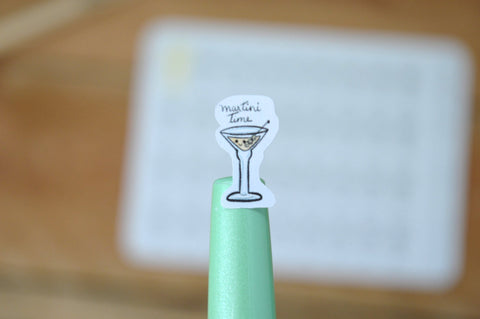 Oh! Good Idea planner stickers,martini o' clock, beverages, drinks stickers, hand drawn stickers for planners