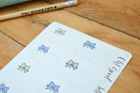 Oh! Good Idea planner stickers, bow decor stickers, pastels hand drawn stickers for planners, half box stickers
