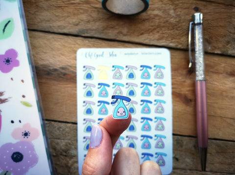Oh! Good Idea planner stickers, cleaning, kawaii cleaning bottle, chores stickers, hand drawn stickers for planners