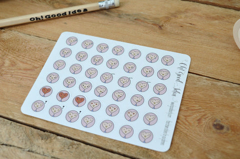 Oh! Good Idea planner stickers, owl emoji mood stickers, mood tracker, self care, hand drawn stickers for planners