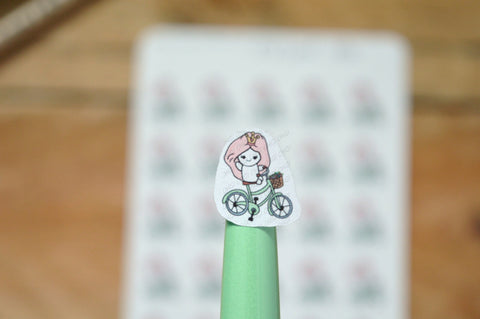 Oh! Good Idea Teedy planner stickers, bike cycling, outdoors, exercise stickers, hand drawn stickers for planners