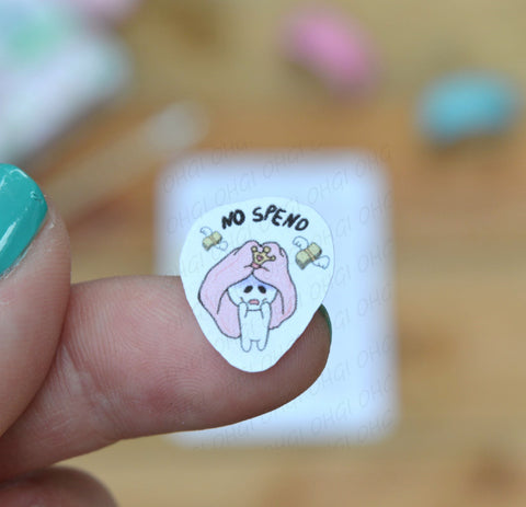 Oh! Good Idea Teedy planner stickers, no spend, pay bills, broke, no spend, mental health stickers, hand drawn stickers for planners