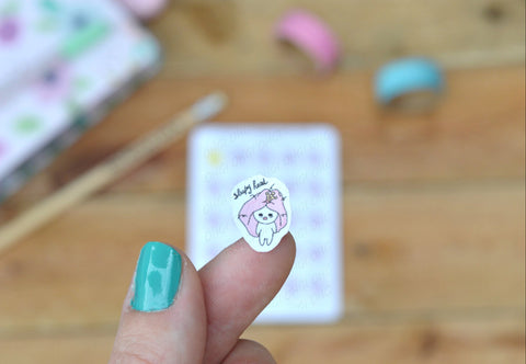 Oh! Good Idea Teedy planner stickers, sleep, tired, sleepy, mental health stickers, hand drawn stickers for planners