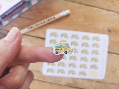 Oh! Good Idea planner stickers, yellow school bus, back to school, commute, mum life, hand drawn stickers for planners