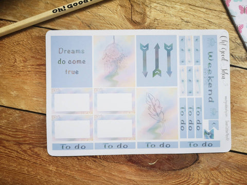 Oh! Good Idea planner stickers, blue dreamcatcher, boho, summer stickers, hand drawn stickers for planners, Erin Condren planner kit