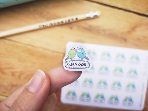 Oh! Good Idea planner stickers, budgies, bird pet care stickers, hand drawn stickers for planners