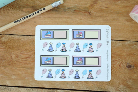 Oh! Good Idea planner stickers, birthday celebration party stickers, hand drawn stickers for planners