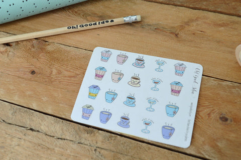 Oh! Good Idea planner stickers, coffee, tea, hot chocolate kawaii stickers, hand drawn stickers for planners