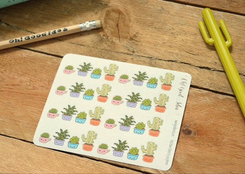 Oh! Good Idea planner stickers, cactus, succulents, kawaii floral, hand drawn stickers for planners