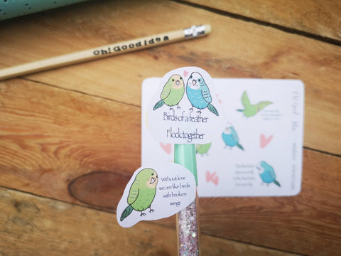 Oh! Good Idea planner stickers, budgies, bird motivational stickers, hand drawn stickers for planners