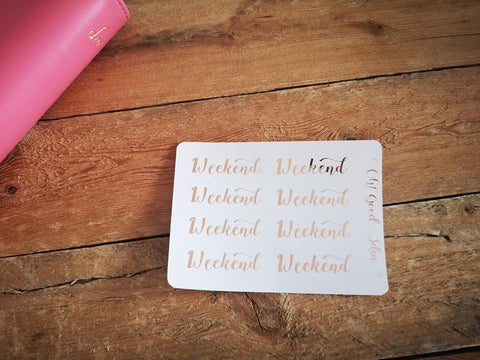 Oh! Good Idea planner stickers, foil weekend word script stickers for planners, rainbow, pink, silver, rose gold foil