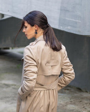 Long tan trench coat with back detail, sequins and lining