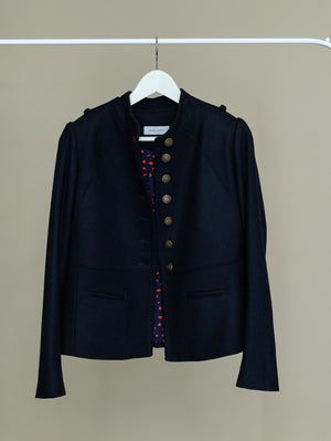 Navy military coat with back pleats and beautiful lining