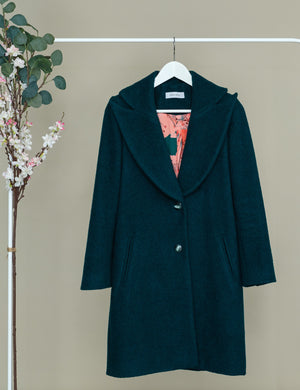 Petrol green coat with oversized lapel and collar, lining