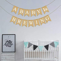 Rainlemon Jute Burlap A Baby is Brewing Banner Tea Beer Diaper Party Baby Shower Garland Decoration