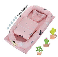DOLDOA Baby Lounger for Newborn Protable Baby Nest 100% Cotton Baby Bassinet for Bed,Co-Sleep Nest Lounger Pillow for Baby Bedroom/Travel (Cloud - Pink)